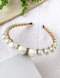 Fashion Creamy-white Alloy Diamond Pearl Headband