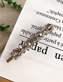 Fashion Gray Alloy Resin Transparent Bead Hair Clip