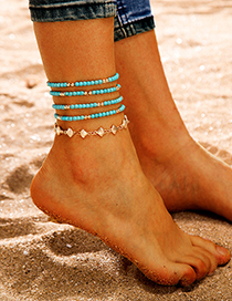Fashion Gold Pattern Beaded Shell Alloy Anklet 5 Piece Set
