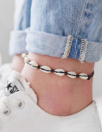 Fashion Shell Braided Black Rope Shell Alloy Anklet