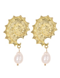 Fashion White Alloy Pearl Conch Earrings