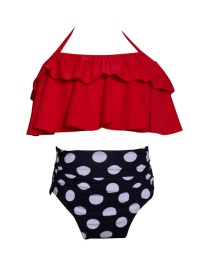 Fashion Children Get Red And White Printed High-waist Ruffled Parent-child Swimsuit