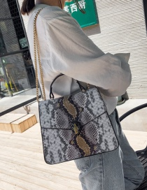 Fashion Khaki Crossbody Single Shoulder Stitching Snake Tote