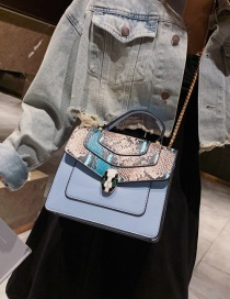 Fashion Blue Snake Contrast Snake-printed Crossbody Bag