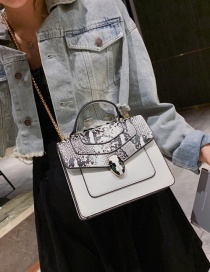 Fashion White Snake Contrast Snake-printed Crossbody Bag