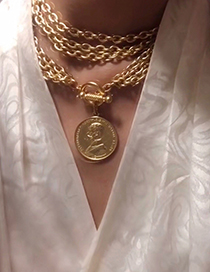 Fashion Gold Brass Gold Coin Avatar Round Card Can Be Double-layered Necklace