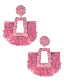 Fashion Pink Alloy Geometry Tassel Earrings