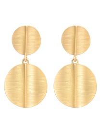 Fashion Gold Geometric Texture Metal Stud Earrings