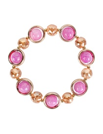 Fashion Pink Crystal Agate Alloy Bracelet
