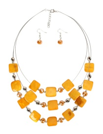 Fashion Yellow Shell Crystal Beaded Necklace Set