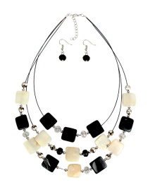 Fashion Black And White Shell Crystal Beaded Necklace Set