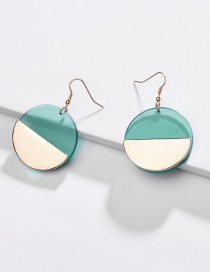 Fashion Green Alloy Transparent Acrylic Round Earrings