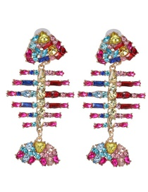 Fashion Color Fringed Diamond Claw Chain Fishbone Earrings