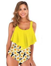Fashion Yellow Clothing + Black Print Pleated Ruffled Printed High-waist Split Swimsuit