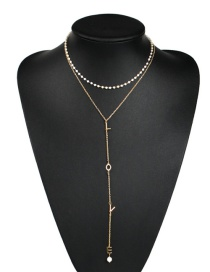 Fashion Gold Alloy Double Layer Chain Pearl Letter Necklace