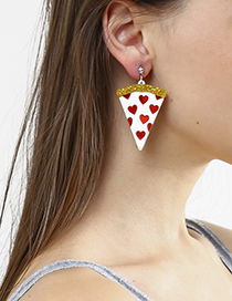 Fashion White 925 Sterling Silver Love Pizza Earrings