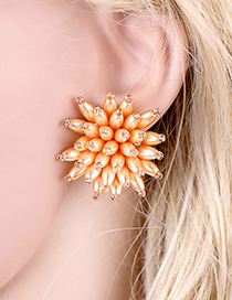 Fashion Orange Beaded Three-dimensional Flower Pearl Stud Earrings