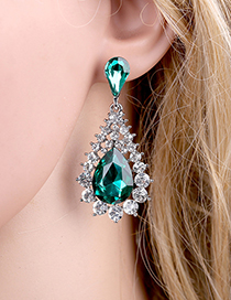 Fashion Green Alloy Diamond Drop Earrings