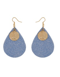 Fashion Blue Alloy Necklace Portrait Drop Earrings