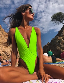 Fashion Fluorescent Green Pleated Siamese Swimsuit