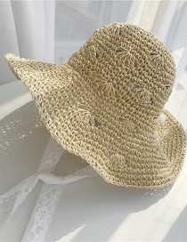 Fashion Beige Lace Tie Straw Hat