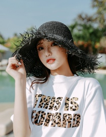 Fashion Black Large Irregular Straw Hat