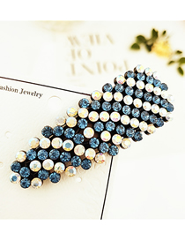 Fashion Round Full Diamond Blue Studded With Hair Clips