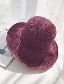Fashion Red Wine Extra-fine Woven Straw Hat