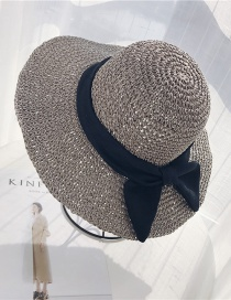 Fashion Gray Paper Weaving Bow Sun Protection Cap