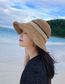 Fashion Khaki Paper Weaving Light Board Color Strips Big Hat