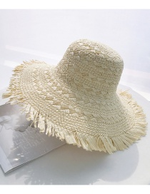Fashion Beige Big Bristle Shade Straw Hat
