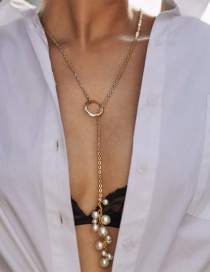 Fashion Gold Alloy Chain Pearl Necklace