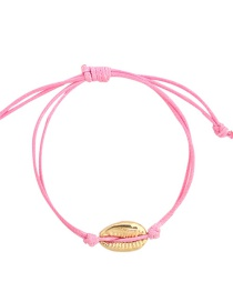 Fashion Pink Alloy Wax Rope Shell Bracelet