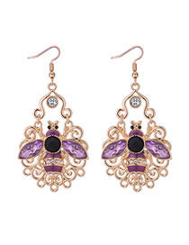 Fashion Purple Hollow Out Design Bee Shape Earrings