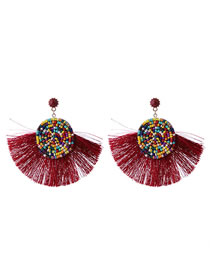 Fashion Claret Red Tassel Decorated Round Earrings