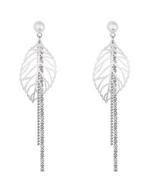 Fashion Silver Color Hollow Out Design Leaf Shape Earrings