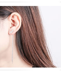 Fashion Silver Color Bowknot Decorated Tassel Earrings