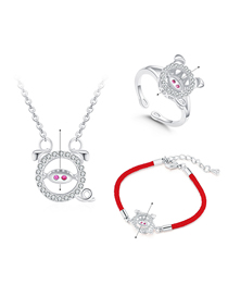 Simple Silver Color Pig Shape Decorated Jewelry Set
