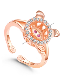 Simple Rose Gold Pig Shape Decorated Ring