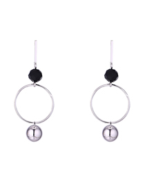 Simple Silver Color Round Shape Decorated Earrings