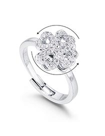 Fashion Platinum Four-leaf Clover Rotation Ring - Meet Lucky