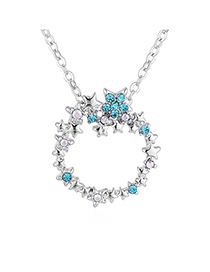 Fashion Color White + Blue Zircon Plated Gold-blue Sea Legend Ring Full Of Diamond Necklace