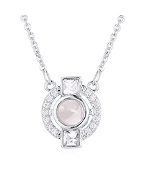 Fashion Platinum 100 Languages ??i Love You Beating Heart Crystal Necklace