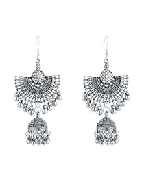 Fashion Silver Fringed Semicircular Bell Earrings