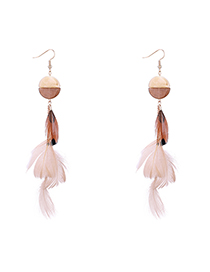 Fashion Coffee Fringed Feather Earrings