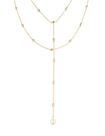 Fashion 14k Gold + Color White Crystal Necklace - Water Moon