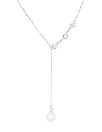Fashion Platinum Zircon Necklace - The Flow Of The Year