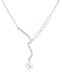 Fashion Platinum Zircon Necklace - River