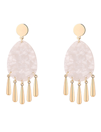 Fashion White Plated Gold Oval Earrings