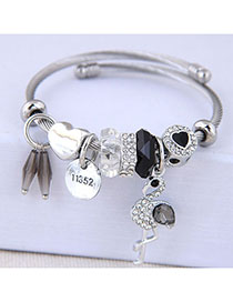 Fashion Black Metal Flash Drill Pendant Bracelet